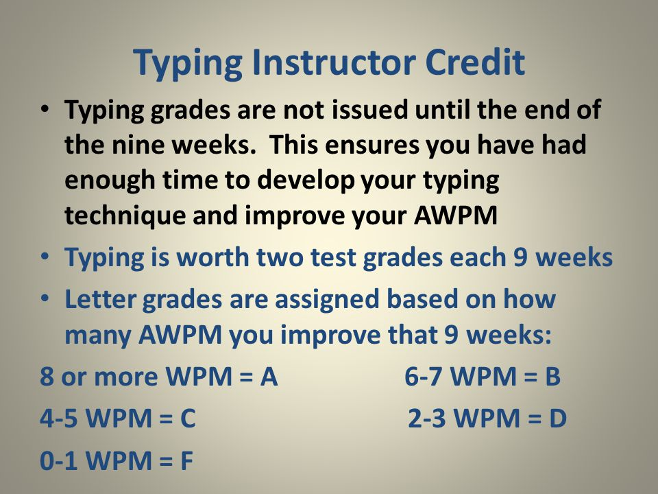 Typing grades are not issued until the end of the nine weeks. This ensures you have had enough time to develop your typing technique and improve your