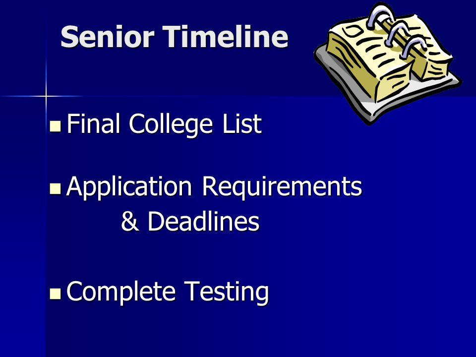 Senior Timeline Final College List Final College List Application Requirements Application Requirements & Deadlines & Deadlines Complete Testing Complete Testing