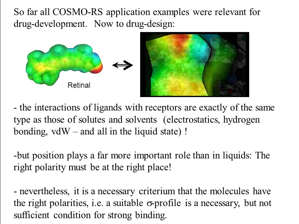 So far all COSMO-RS application examples were relevant for drug-development. Now to drug-design: - the interactions of ligands with receptors are exac