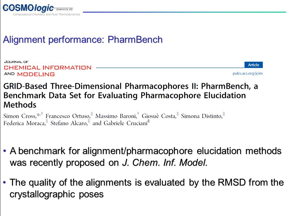 PharmBench introduction Alignment performance: PharmBench A benchmark for alignment/pharmacophore elucidation methods was recently proposed on J. Chem