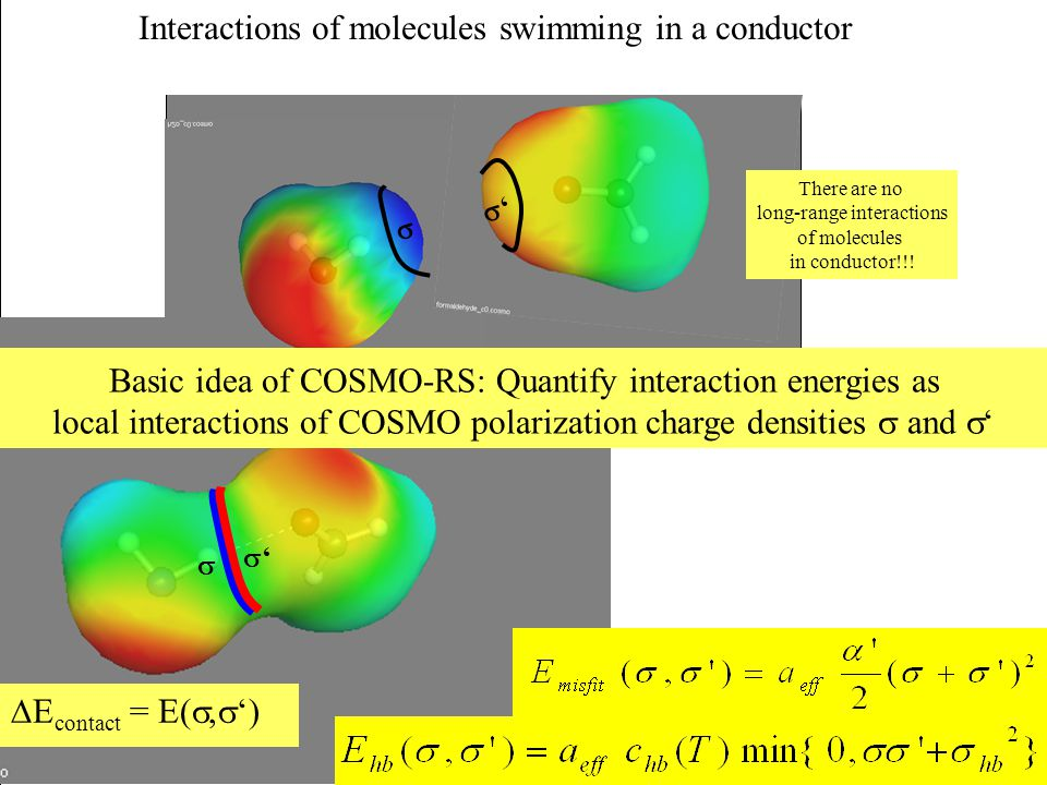''   '' We only get an energy change  E, if the two cavities contact each other. Basic idea of COSMO-RS: Quantify interaction energies as local