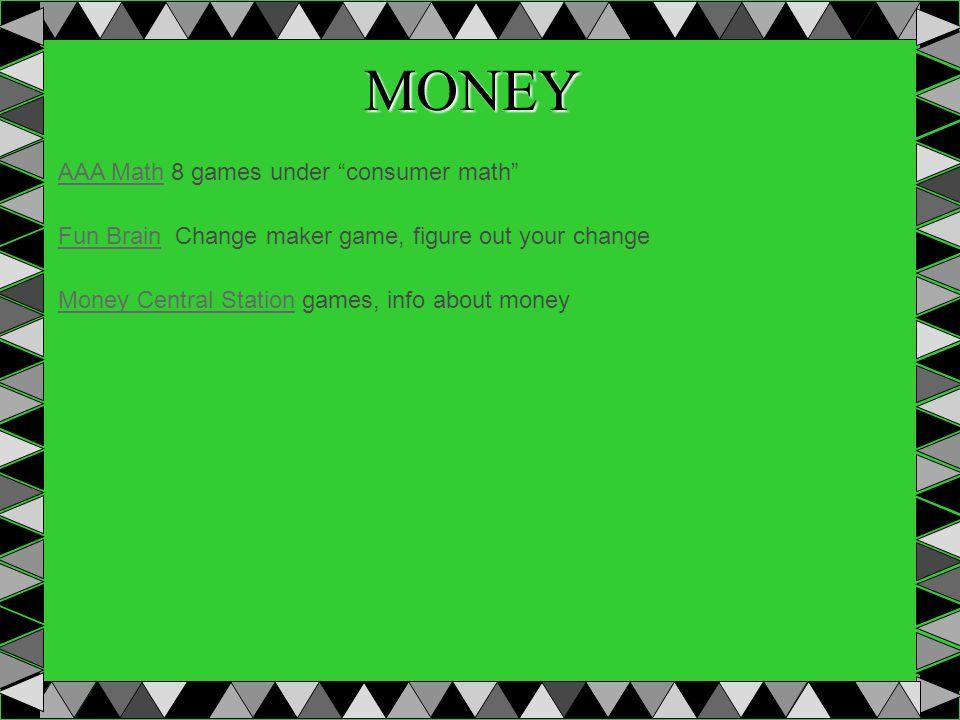 MONEY AAA MathAAA Math 8 games under consumer math Fun BrainFun Brain Change maker game, figure out your change Money Central StationMoney Central Station games, info about money