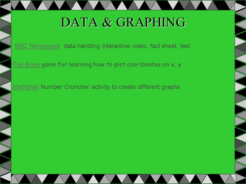 DATA & GRAPHING Fun BrainFun Brain game for learning how to plot coordinates on x, y MathsNetMathsNet Number Cruncher activity to create different gra