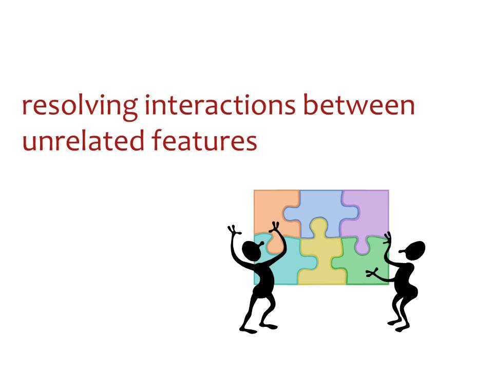 resolving interactions between unrelated features