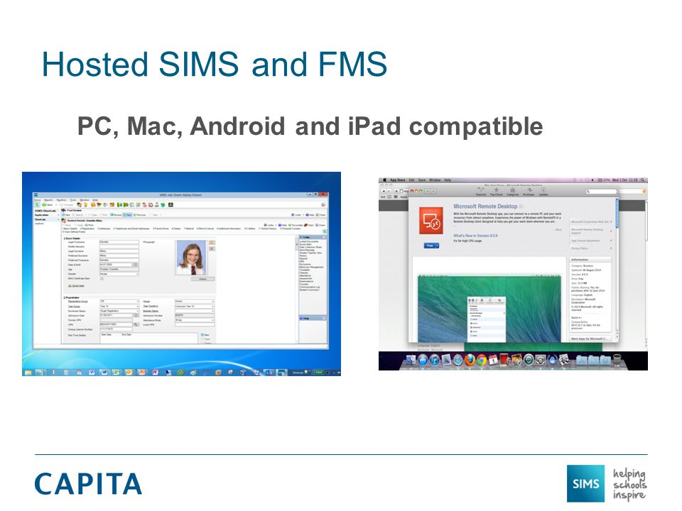 Hosted SIMS and FMS PC, Mac, Android and iPad compatible