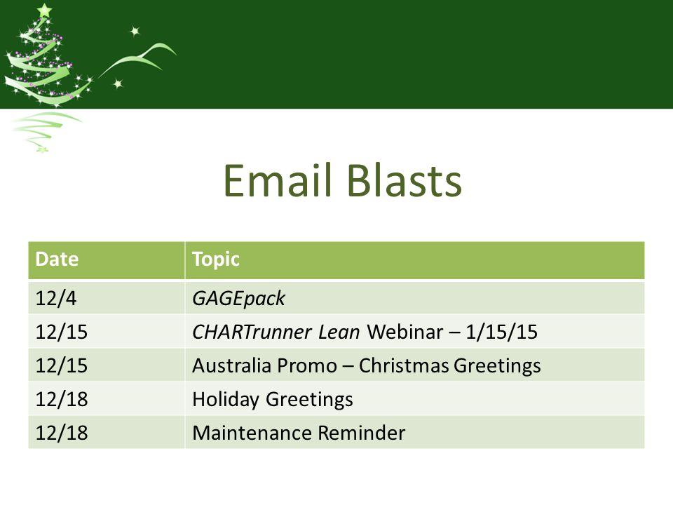 Email Blasts DateTopic 12/4GAGEpack 12/15CHARTrunner Lean Webinar – 1/15/15 12/15Australia Promo – Christmas Greetings 12/18Holiday Greetings 12/18Maintenance Reminder