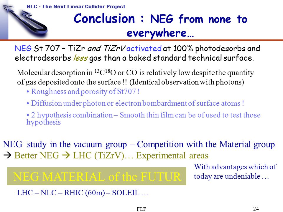 NLC - The Next Linear Collider Project FLP 24 Conclusion : NEG from none to everywhere… NEG St 707 – TiZr and TiZrV activated at 100% photodesorbs and electrodesorbs less gas than a baked standard technical surface.