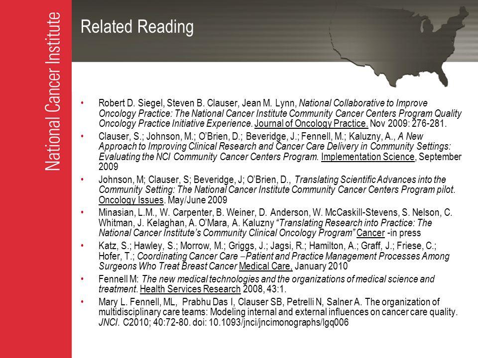 Related Reading Robert D. Siegel, Steven B. Clauser, Jean M.