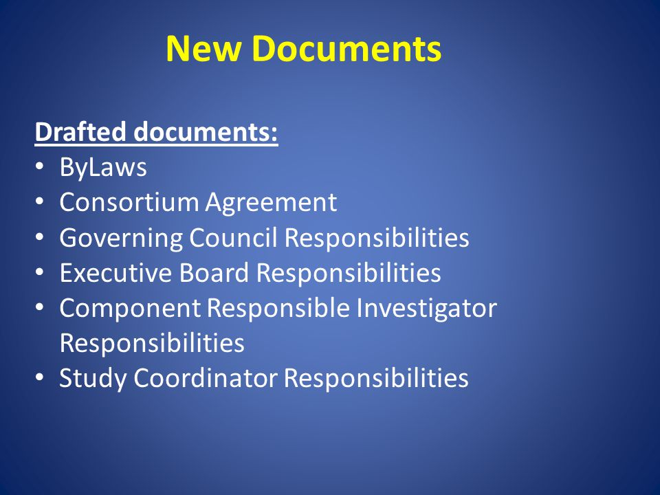 New Documents Drafted documents: ByLaws Consortium Agreement Governing Council Responsibilities Executive Board Responsibilities Component Responsible