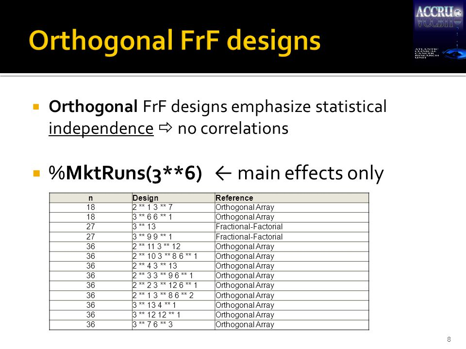  Optimal FrF designs emphasize statistical efficiency at expense of independence  Maximum information from respondents for a given survey design  Usually some correlation between attributes  Requires model to be pre-specified in order to ensure sufficient d.f.'s and minimal correlation between effects 9