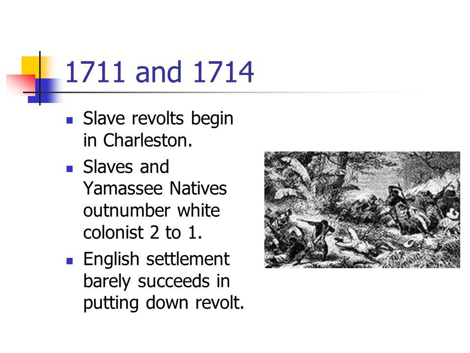 1711 and 1714 Slave revolts begin in Charleston.