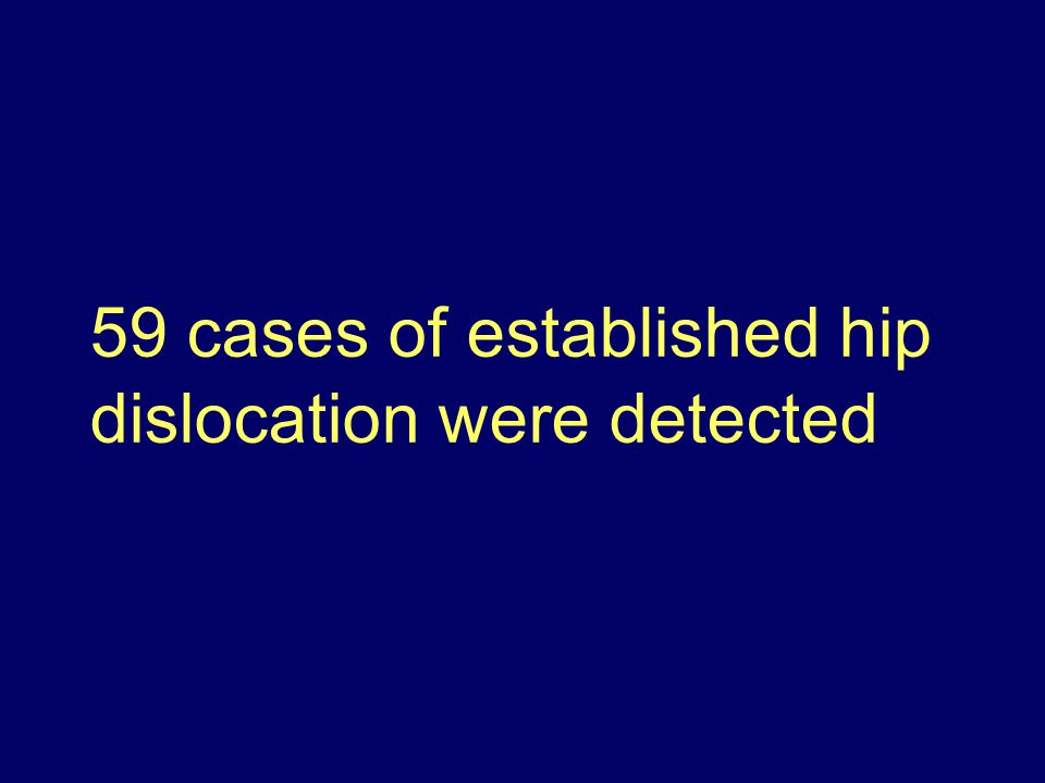 59 cases of established hip dislocation were detected
