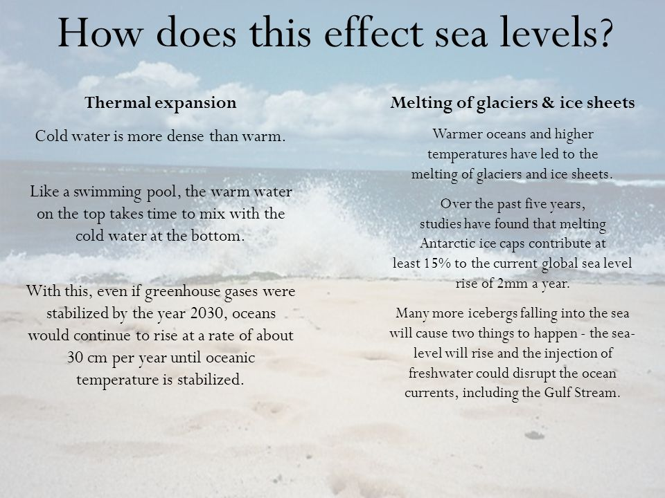 How does this effect sea levels? Thermal expansion Cold water is more dense than warm. Like a swimming pool, the warm water on the top takes time to m