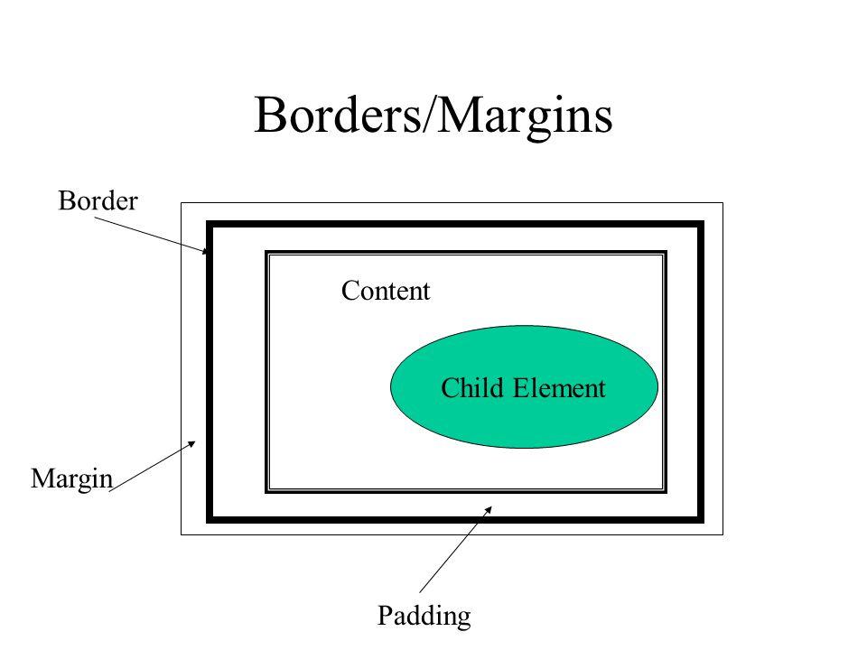 Borders/Margins Child Element Content Padding Border Margin
