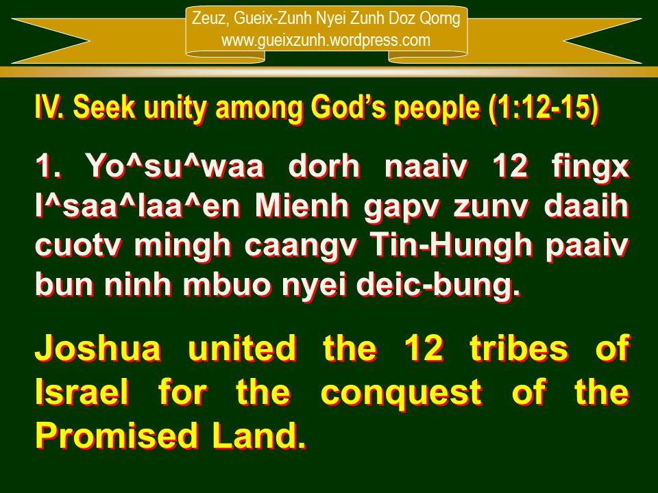 Zeuz, Gueix-Zunh Nyei Zunh Doz Qorng www.gueixzunh.wordpress.com IV. Seek unity among God's people (1:12-15) 1. Yo^su^waa dorh naaiv 12 fingx I^saa^la
