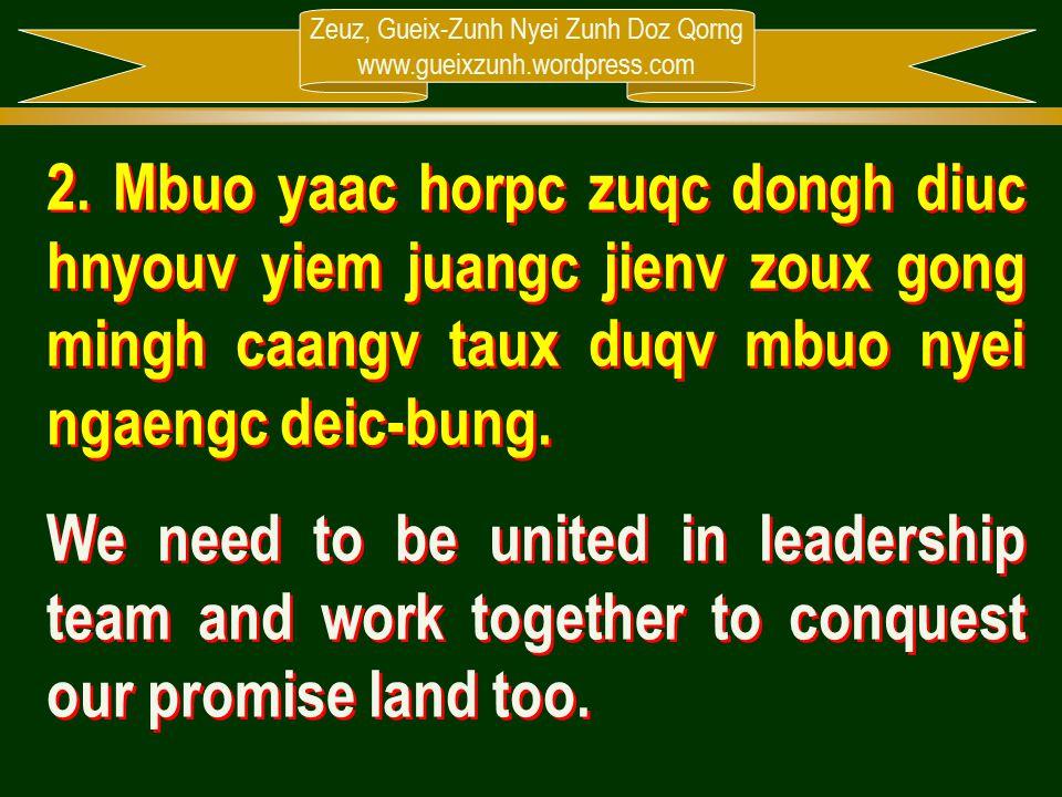 Zeuz, Gueix-Zunh Nyei Zunh Doz Qorng www.gueixzunh.wordpress.com 2. Mbuo yaac horpc zuqc dongh diuc hnyouv yiem juangc jienv zoux gong mingh caangv ta