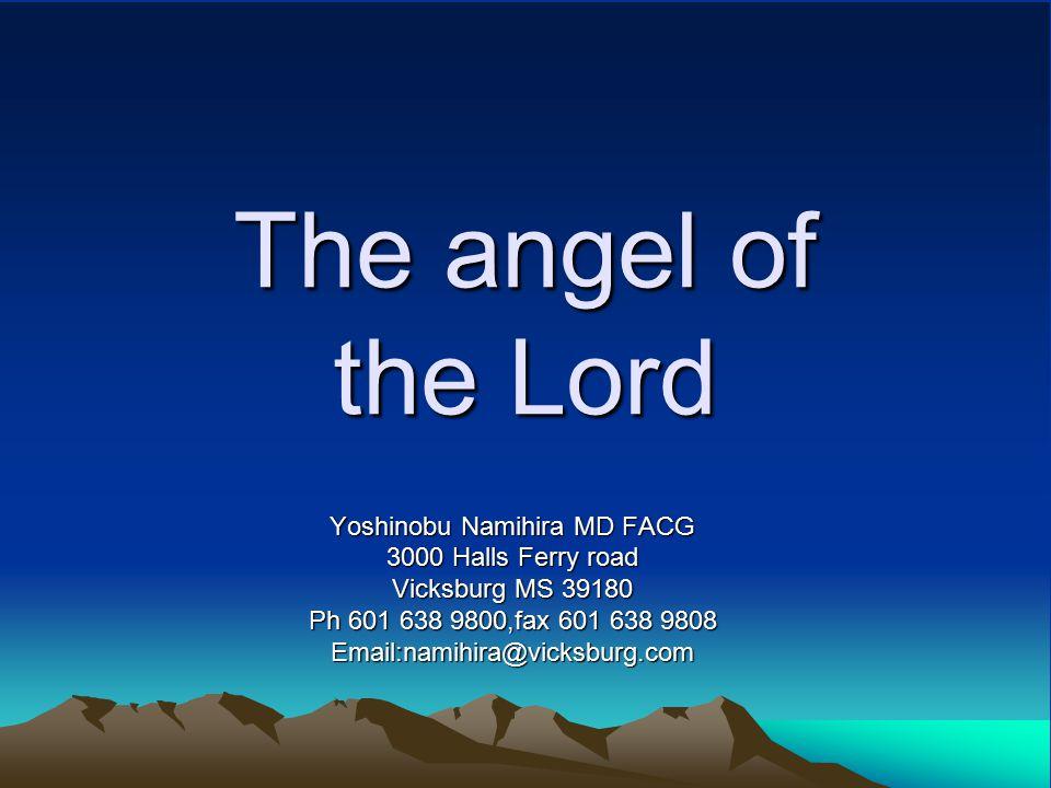 The angel of the Lord Yoshinobu Namihira MD FACG 3000 Halls Ferry road Vicksburg MS 39180 Ph 601 638 9800,fax 601 638 9808 Email:namihira@vicksburg.com