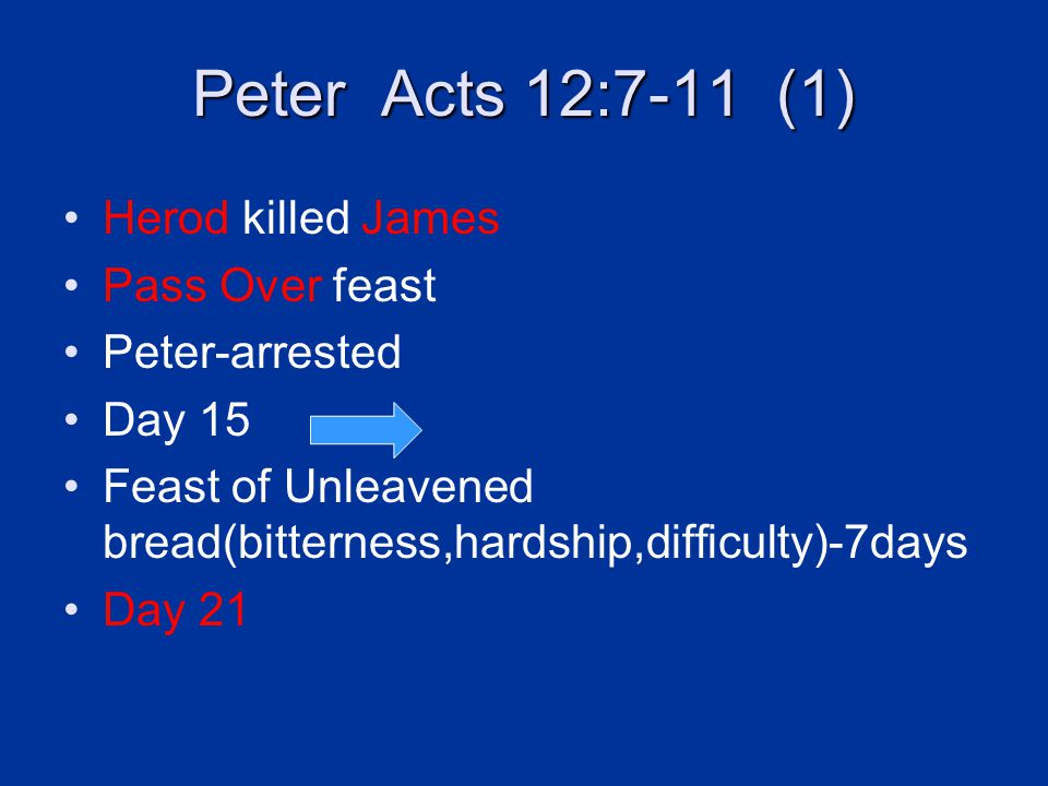 Peter Acts 12:7-11 (1) Herod killed James Pass Over feast Peter-arrested Day 15 Feast of Unleavened bread(bitterness,hardship,difficulty)-7days Day 21