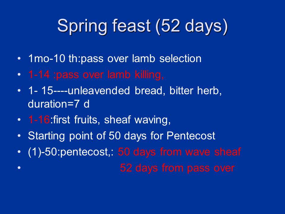 Spring feast (52 days) 1mo-10 th:pass over lamb selection 1-14 :pass over lamb killing, 1- 15----unleavended bread, bitter herb, duration=7 d 1-16:first fruits, sheaf waving, Starting point of 50 days for Pentecost (1)-50:pentecost,: 50 days from wave sheaf 52 days from pass over