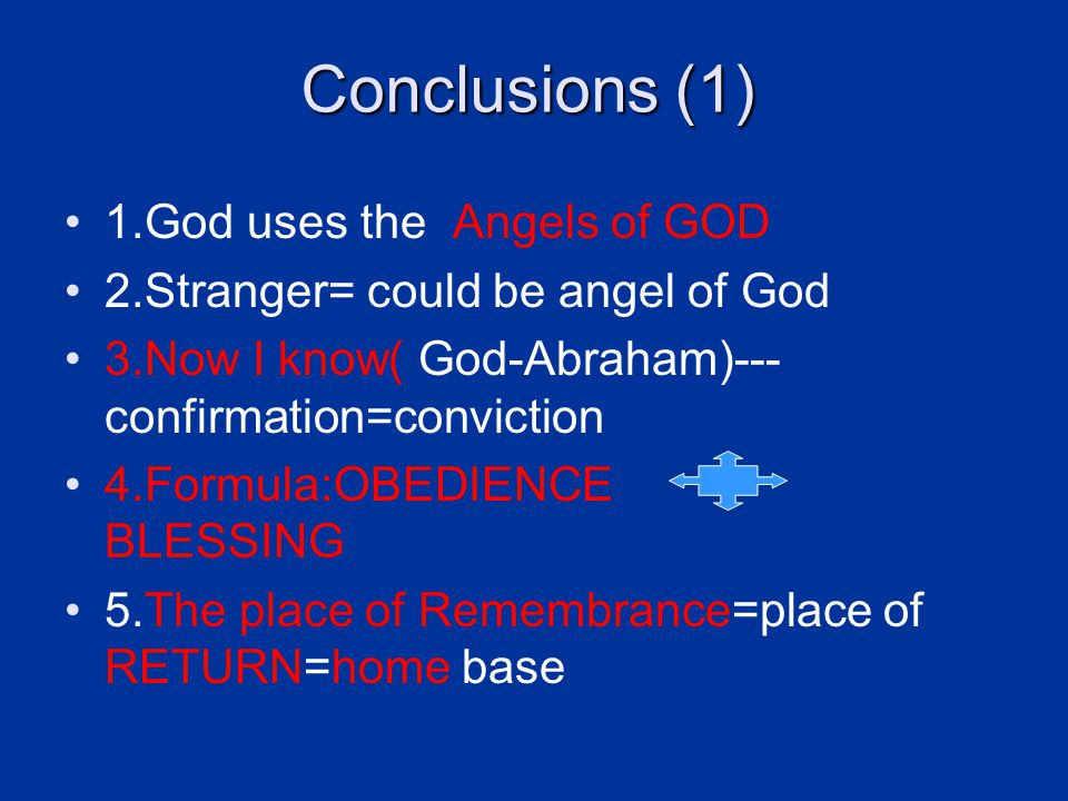 Conclusions (1) 1.God uses the Angels of GOD 2.Stranger= could be angel of God 3.Now I know( God-Abraham)--- confirmation=conviction 4.Formula:OBEDIENCE BLESSING 5.The place of Remembrance=place of RETURN=home base