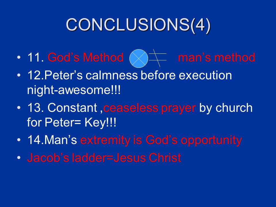 CONCLUSIONS(4) 11. God's Method man's method 12.Peter's calmness before execution night-awesome!!.