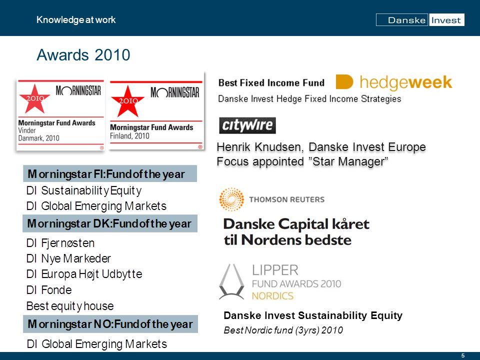 "5 Knowledge at work Awards 2010 Henrik Knudsen, Danske Invest Europe Focus appointed ""Star Manager"" Danske Invest Sustainability Equity Best Nordic fu"