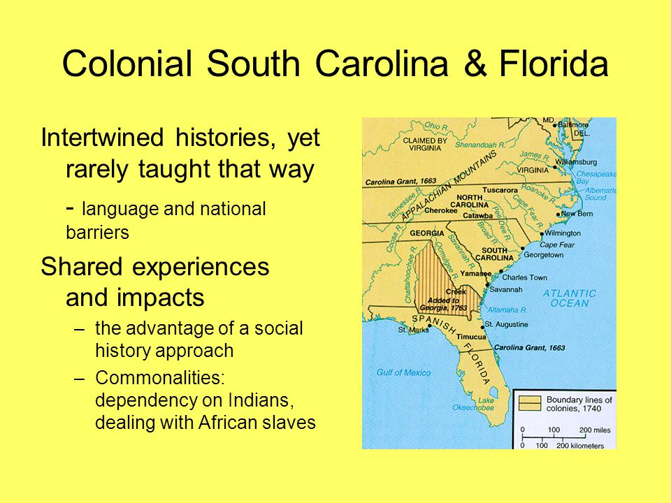 Colonial South Carolina & Florida Intertwined histories, yet rarely taught that way - language and national barriers Shared experiences and impacts –the advantage of a social history approach –Commonalities: dependency on Indians, dealing with African slaves