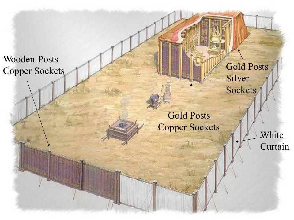 Wooden Posts Copper Sockets Gold Posts Copper Sockets Gold Posts Silver Sockets White Curtain