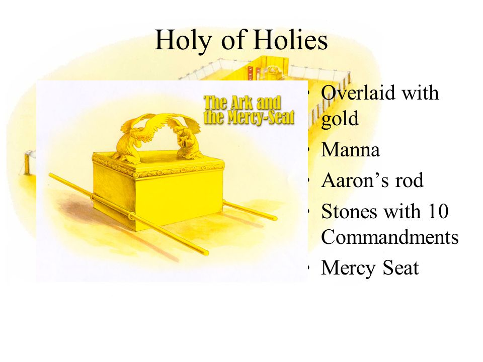 Overlaid with gold Manna Aaron's rod Stones with 10 Commandments Mercy Seat Holy of Holies