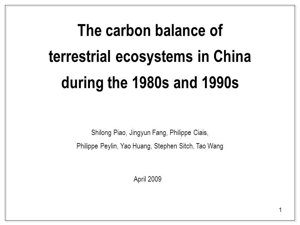 12 6±1 Tg C/yr4±4 Tg C/yr Forest Grassland CropShrub 22±10 Tg C/yr 75±35 Tg C/yr 7±3 Tg C/yr - 3 Tg C/yr Soil Inventory and satellite based estimation BambooFire 1±1 Tg C/yr vegetation 26±11 Tg C/yr39±9 Tg C/yr Limitations: Not included wetland; trees out forests (four-side trees and individual tress) 177±73 Tg C/yr = 13±1 Tg C/yr