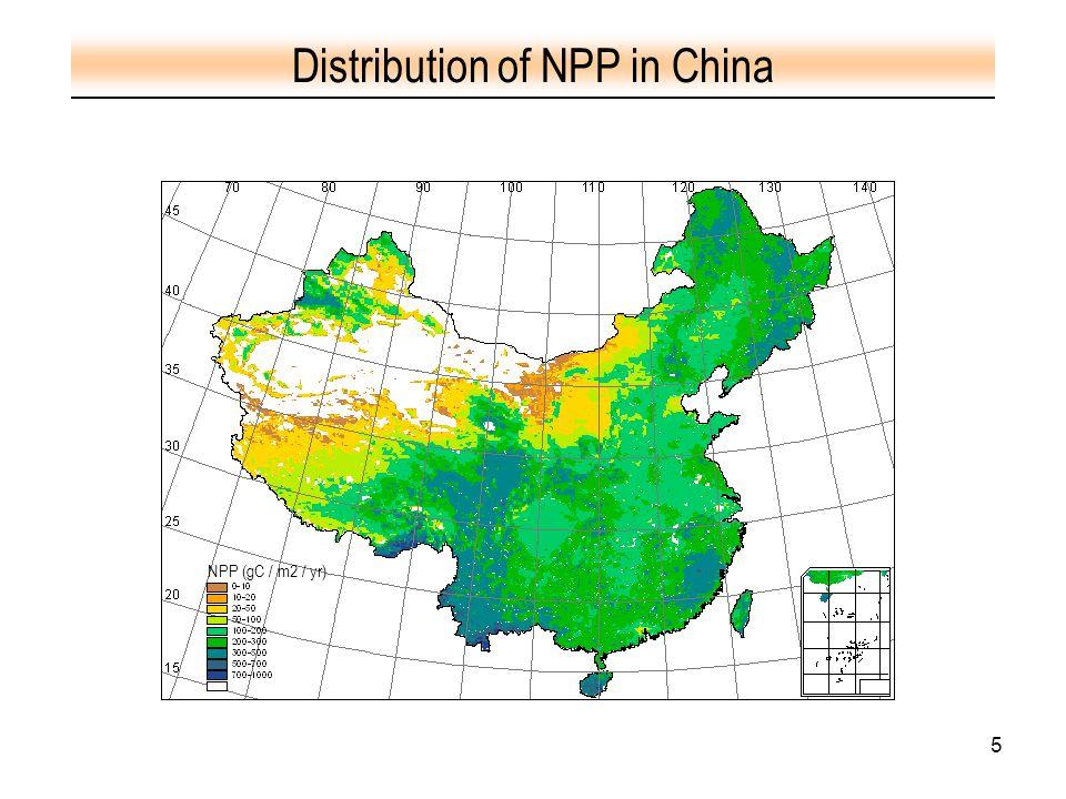 5 Distribution of NPP in China NPP (gC / m2 / yr)
