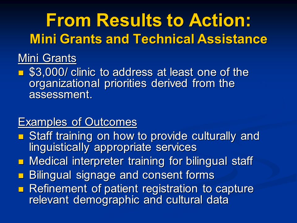 From Results to Action: Mini Grants and Technical Assistance Mini Grants $3,000/ clinic to address at least one of the organizational priorities derived from the assessment.