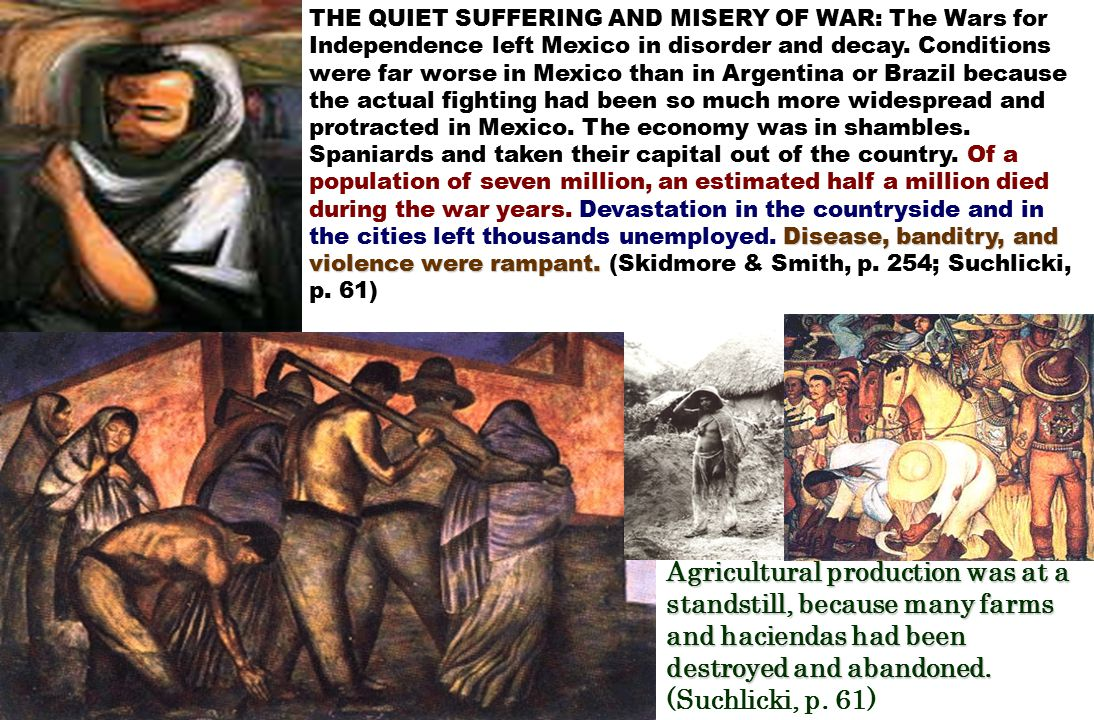 Agricultural production was at a standstill, because many farms and haciendas had been destroyed and abandoned.