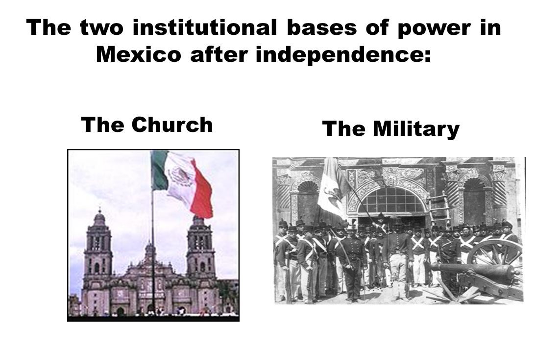 The two institutional bases of power in Mexico after independence: The Church The Military