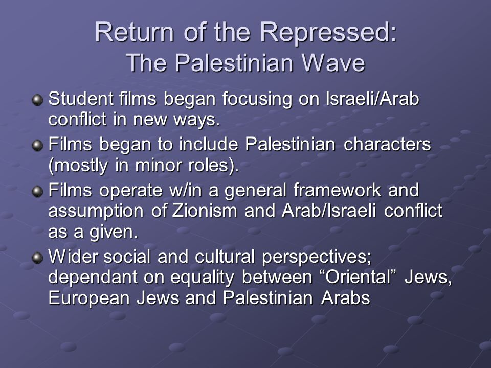 Return of the Repressed: The Palestinian Wave Student films began focusing on Israeli/Arab conflict in new ways.