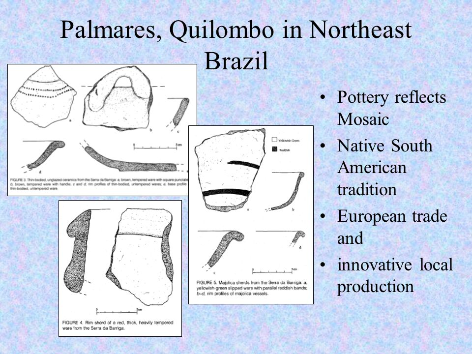 Palmares, Quilombo in Northeast Brazil Pottery reflects Mosaic Native South American tradition European trade and innovative local production