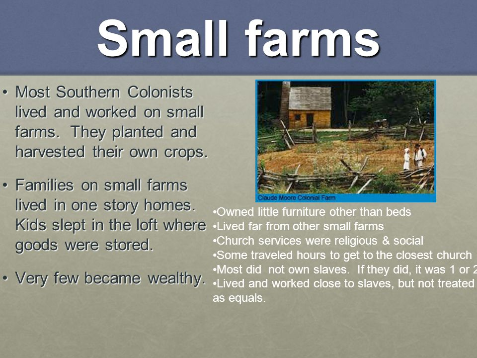 Small farms Most Southern Colonists lived and worked on small farms. They planted and harvested their own crops.Most Southern Colonists lived and work