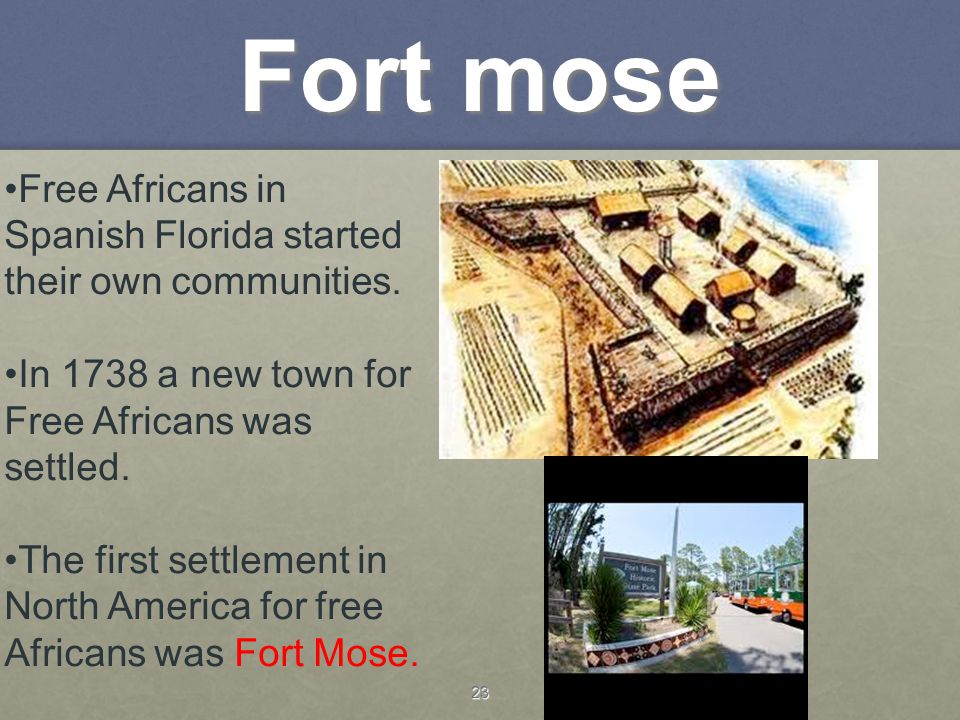 23 Fort mose Free Africans in Spanish Florida started their own communities. In 1738 a new town for Free Africans was settled. The first settlement in