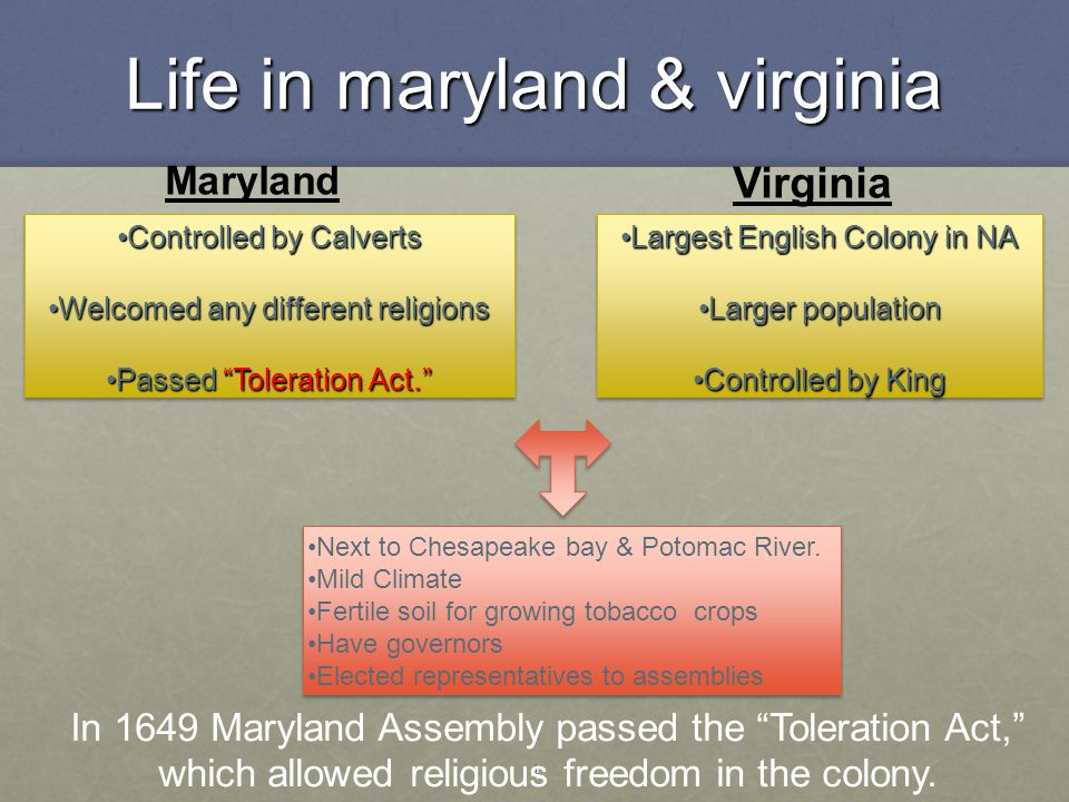 4 Life in maryland & virginia Virginia Largest English Colony in NALargest English Colony in NA Larger populationLarger population Controlled by KingC