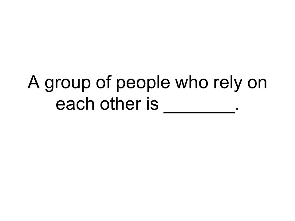 A group of people who rely on each other is _______.