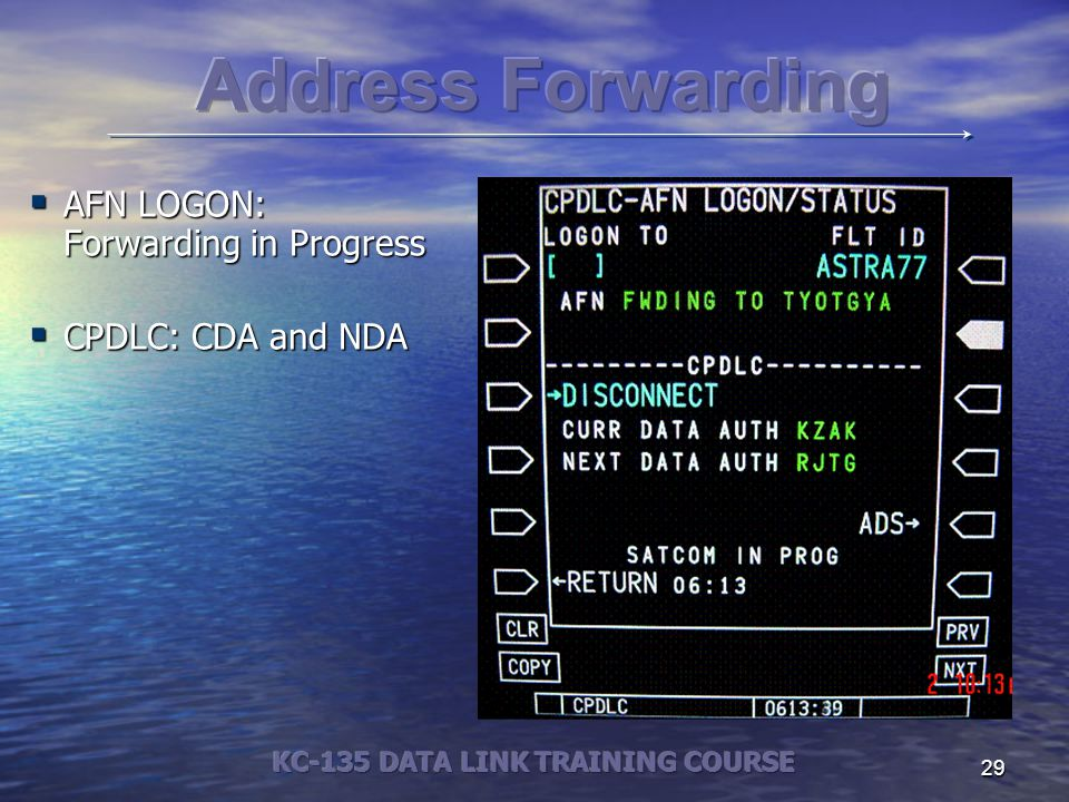 29  AFN LOGON: Forwarding in Progress  CPDLC: CDA and NDA