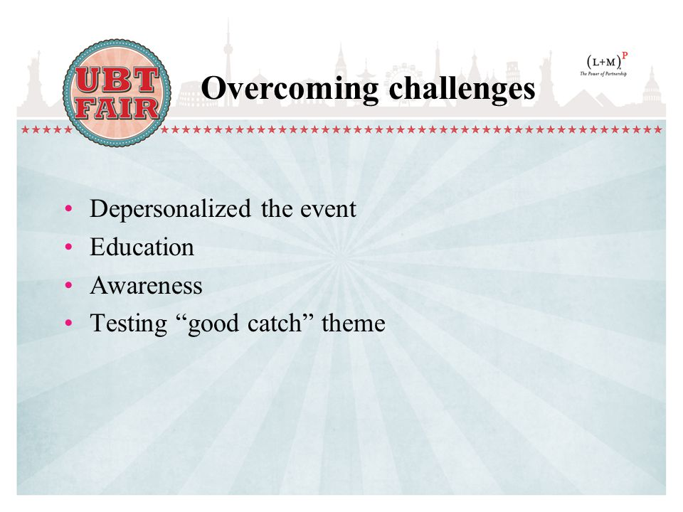Depersonalized the event Education Awareness Testing good catch theme Overcoming challenges