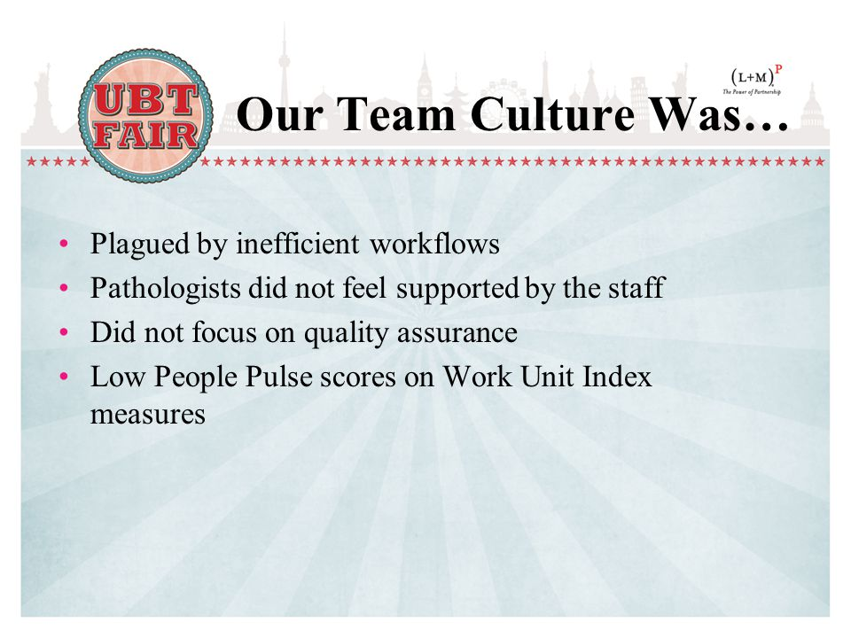 Our Team Culture Was… Plagued by inefficient workflows Pathologists did not feel supported by the staff Did not focus on quality assurance Low People Pulse scores on Work Unit Index measures