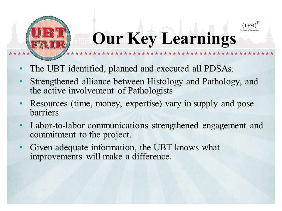 Our Key Learnings The UBT identified, planned and executed all PDSAs.