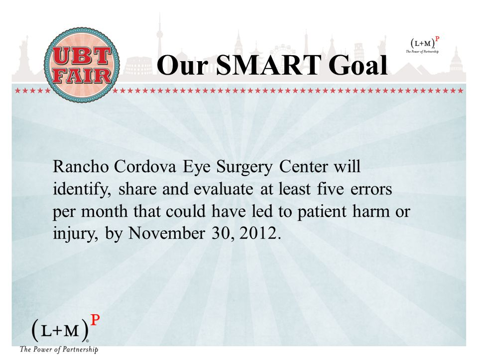 Our SMART Goal Rancho Cordova Eye Surgery Center will identify, share and evaluate at least five errors per month that could have led to patient harm or injury, by November 30, 2012.