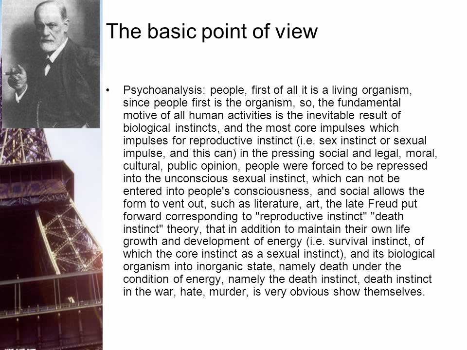 The basic point of view Psychoanalysis: people, first of all it is a living organism, since people first is the organism, so, the fundamental motive o