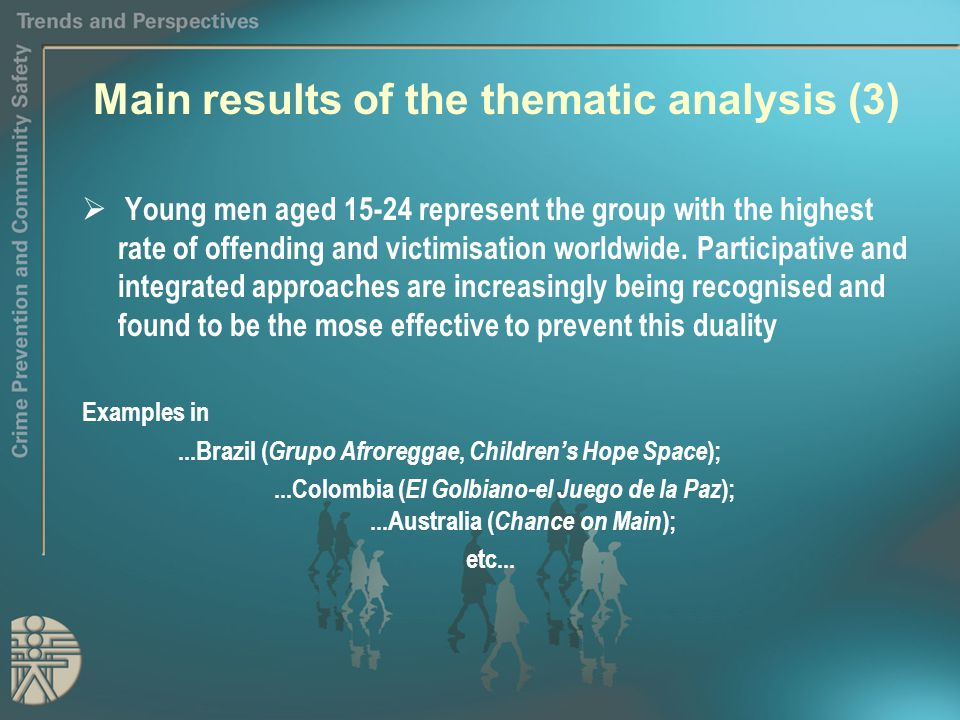 Main results of the thematic analysis (3)  Young men aged 15-24 represent the group with the highest rate of offending and victimisation worldwide.