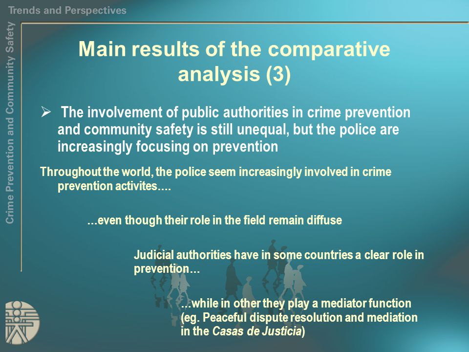 Main results of the comparative analysis (3)  The involvement of public authorities in crime prevention and community safety is still unequal, but the police are increasingly focusing on prevention Throughout the world, the police seem increasingly involved in crime prevention activites….