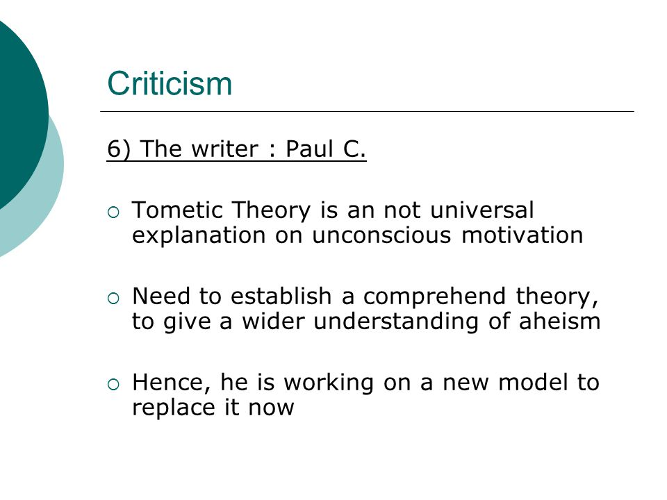 Criticism 6) The writer : Paul C.