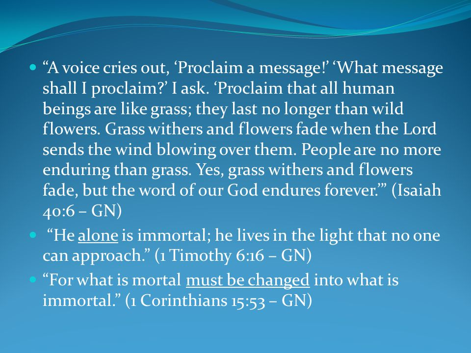 A voice cries out, 'Proclaim a message!' 'What message shall I proclaim?' I ask.
